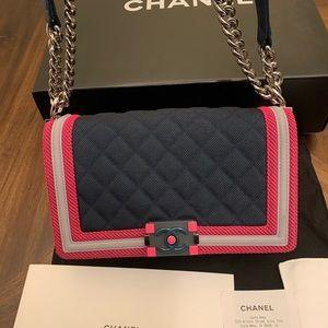 CHANEL Bags - CHANEL Boy Medium Flou Dark Border Shoulder Bag